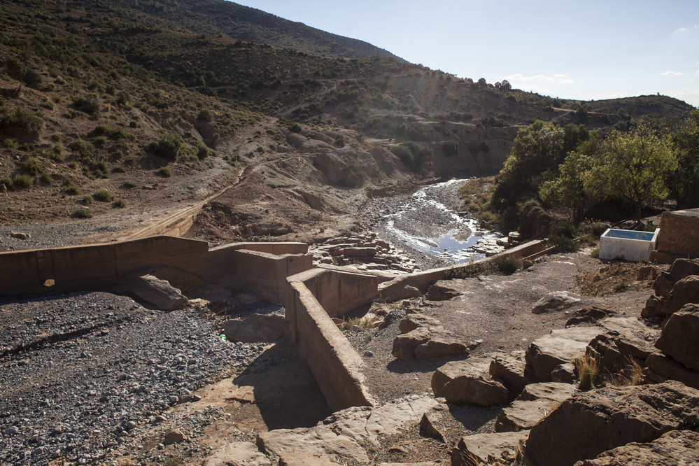 Views of the demaged Ain-Lbok dam, part of the project of rehabilitation in Morocco
