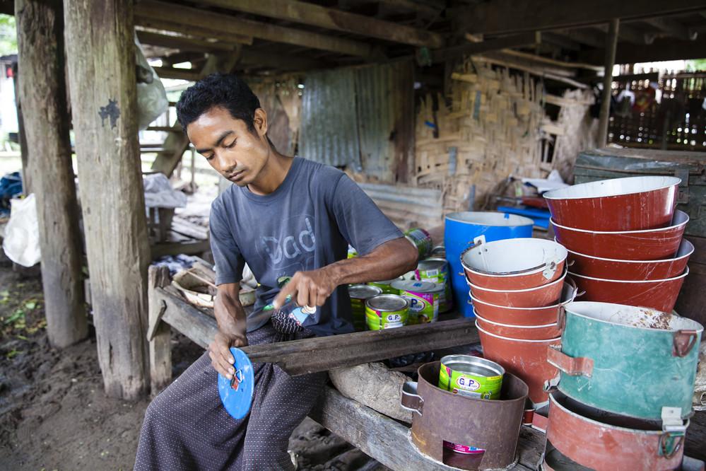 Man working in Myanmar